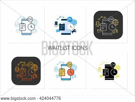 Waitlist Icons. Users Waiting Room. Waiting Before Entering Room. Communication Concept. Collection