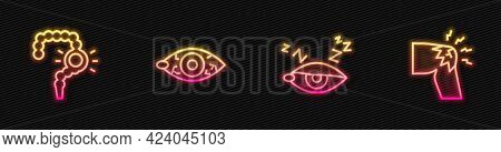Set Line Insomnia, Gut Constipation, Reddish Eye And Joint Pain, Knee Pain. Glowing Neon Icon. Vecto