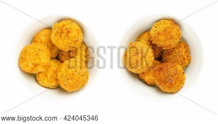 Vegan Falafel Balls, Pre-fried And Deep-fried In White Bowls. Groups Of Ball Shaped Fritters, Based