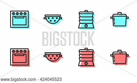 Set Line Slow Cooker, Oven, Kitchen Colander And Cooking Pot Icon. Vector