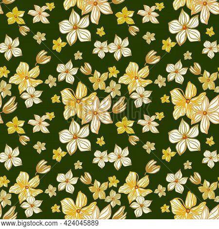 Seamless Repeat Pattern With Yellow Flowers On Green Background. Hand Drawn Fabric, Gift Wrap, Wall