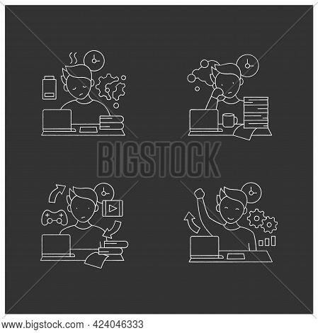 Procrastination Chalk Icons Set. Fatigue, Work Procrastinating, Habits, Overcome Procrastination. Ov