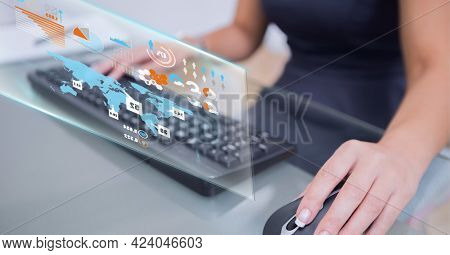 Digital interface with data processing against mid section of woman using computer. global business and technology concept