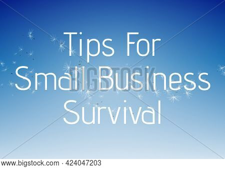 Composition of tips for small business survival text in white over dandelion seeds on sunny blue sky. business and marketing guide design template concept digitally generated image.
