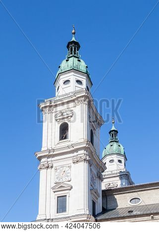 Salzburg, Austria - February 25:  The Bell Towers Of Salzburg Cathedral Are Pictured On February 25,