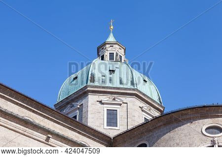 Salzburg, Austria - February 25:  The Dome Of Salburg Cathedral Is Pictured On February 25, 2018.  T