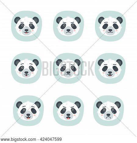 Set Of Different Emotions Of Panda, Vector Illustration
