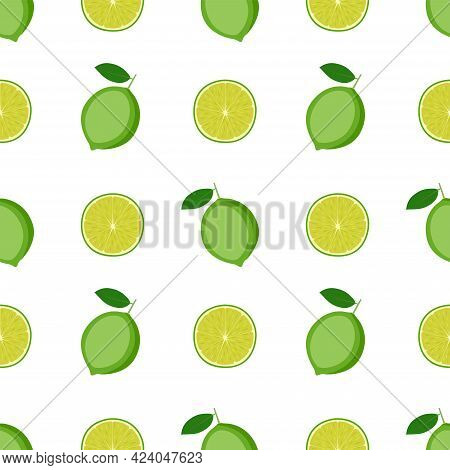 Bright Seamless Pattern With Limes, Vector Illustration