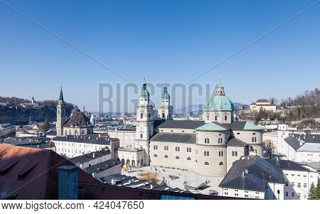 Salzburg, Austria - February 25:  The View Across Salzburg Old Town On February 25, 2018.  In The Fo