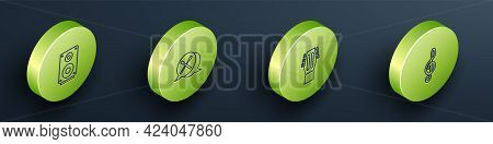 Set Isometric Line Stereo Speaker, Drum Sticks, Guitar And Treble Clef Icon. Vector