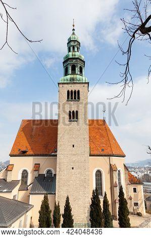 Salzburg, Austria - February 26:  A Close Up Winter View Of The Parish Church Mulln, A Roman Catholi