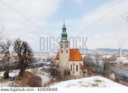 Salzburg, Austria - February 26:  A Winter View Of The Parish Church Mulln, A Roman Catholic Church