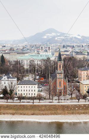 Salzburg, Austria - February 26:  A Winter View Across The Salzach River, Salzburg On February 26, 2