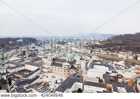Salzburg, Austria - February 26:  The View Across Salzburg Old Town On February 26, 2018.  In The Fo