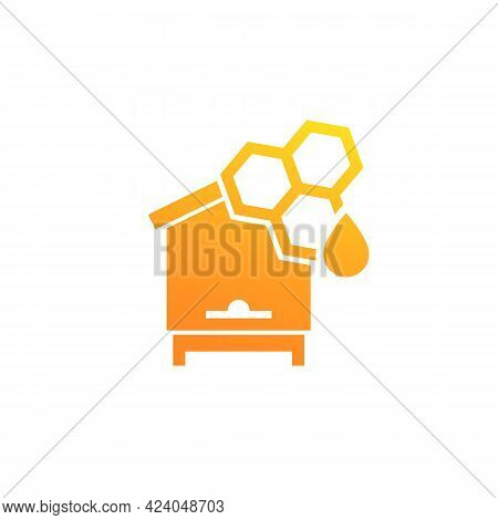 Hive And Honey Icon On White, Vector