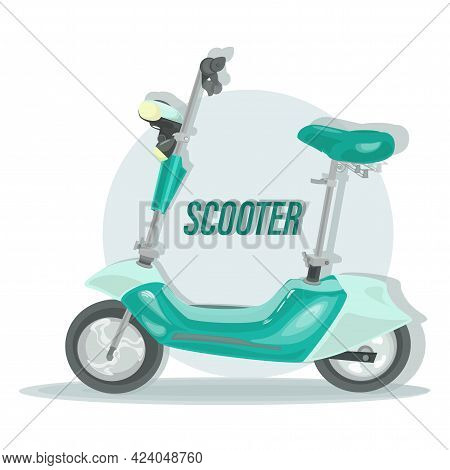 Electric Scooter. Vector Motorcycle. Fast For Food Delivery. Trendy  Green Scooter, Isolated On Ligh