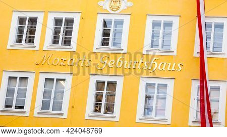 Salzburg, Austria - February 26:  The Birthplace Of Wolfgang Amadeus Mozart Pictured On February 26,