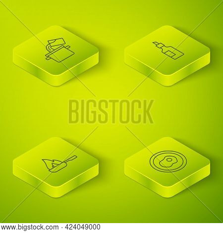 Set Isometric Line Bottle Of Olive Oil, Frying Pan, Scrambled Eggs And Cooking Pot Icon. Vector