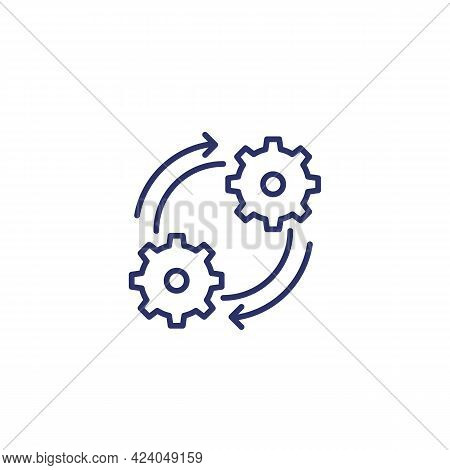 Operation, Effective Process Line Icon On White