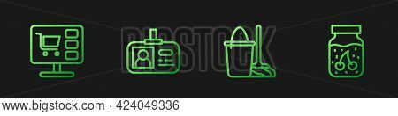 Set Line Mop And Bucket, Shopping Cart On Computer, Identification Badge And Jam Jar. Gradient Color