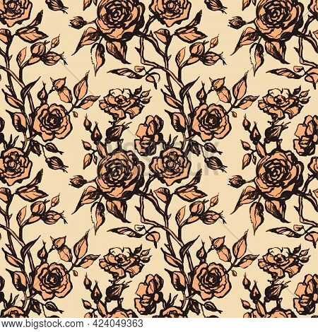 Vintage Vector Floral Seamless Pattern In Victorian Style With Flowers, Buds And Leaves Of Roses. In