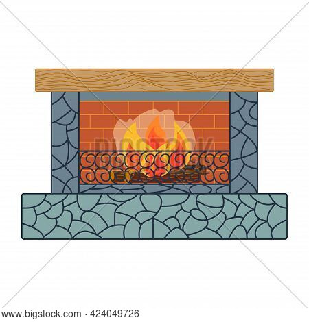 Home Inside Living Room Design Element. Fireplace, Colorful Cozy Interior Warm Bright.