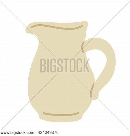 Beige Pitcher Hand Drawn Vector Flat Illustration Isolated Om White Background