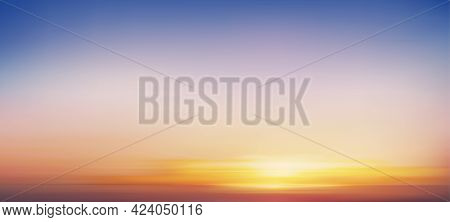 Sunrise In Morning With Orange,yellow,pink And Blue Sky,backdrop Dramatic Twilight Landscape With Su