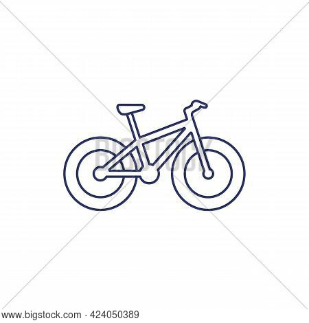 Fat-bike Icon, Snow Bicycle Line Vector On White