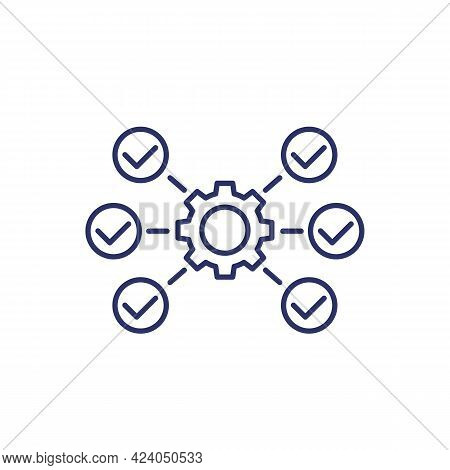 Project Execution Line Icon On White, Vector