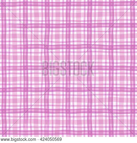 Pink White Lilac Vintage Checkered Background. Space For Graphic Design. Checkered Texture. Classic