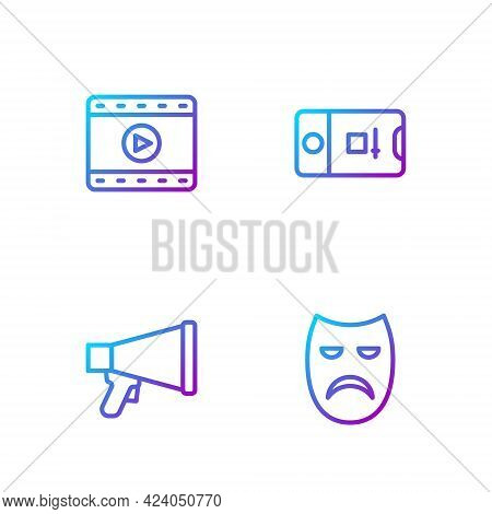 Set Line Drama Theatrical Mask, Megaphone, Play Video And Photo And Video Shooting. Gradient Color I