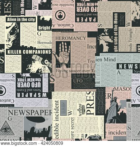Vector Seamless Pattern With A Collage Of Magazine And Newspaper Clippings. Colored Abstract Backgro