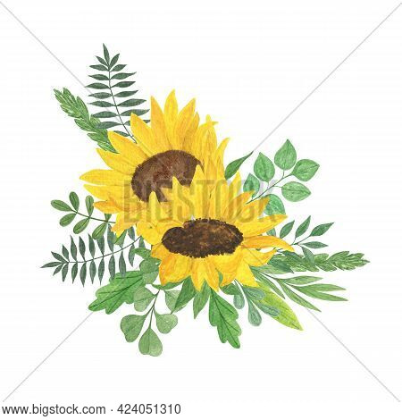 Yellow Sunflower, Leaves Arrangement Watercolor Hand Drawn Floral Illustration, Summer Field Agricul