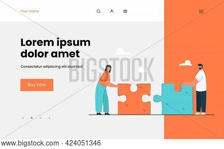 Tiny Man And Woman Putting Together Giant Puzzle. Flat Vector Illustration. Couple Building Relation