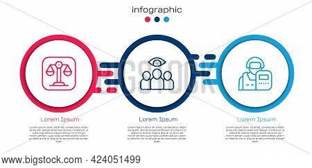 Set Line Scales Of Justice, Spy, Agent And Police Officer. Business Infographic Template. Vector