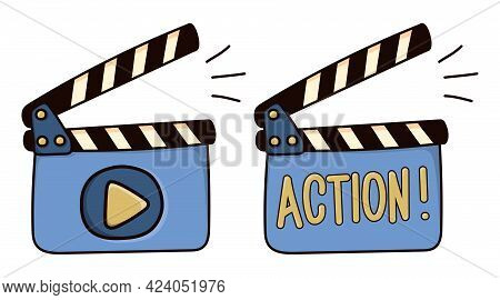 Colored Movie Clapperboard Icon. Hand Drawn Sketch Film Clapper For Cinema Production In Artistic Do