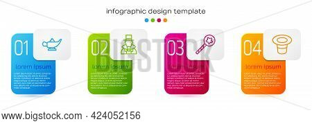Set Line Magic Lamp Or Aladdin, Magician, Wand And Hat. Business Infographic Template. Vector