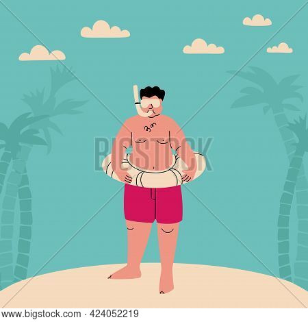 Chubby Man In An Underwater Mask And An Inflatable Ring. Funny Flat Vector Illustration. Fat Person