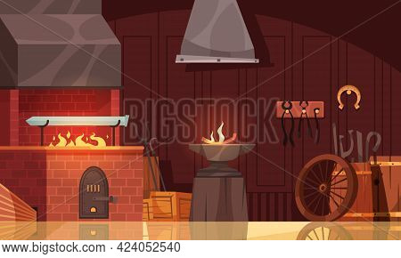 Blacksmith Workshop Interior View With Custom Made Sword Blade In Forge With Bright Orange Flame Car