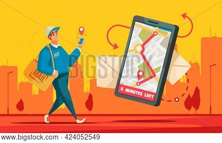 Post Office Mail Delivery Service Cartoon Background Composition Postman Displaying Recipients Locat
