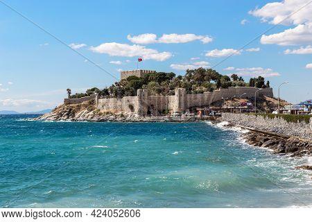 Kusadasi, Turkey - June 2, 2021: This Is The Ottoman Guverjinada Fortress (15th Century), Which Was