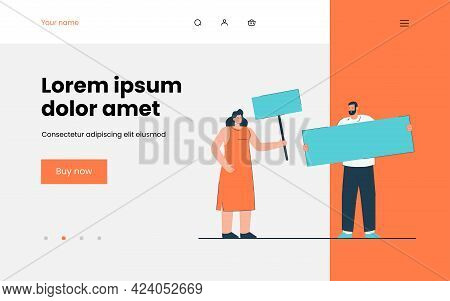 Cartoon Man And Woman Holding Banners. Flat Vector Illustration. Activists Taking Part In Demonstrat