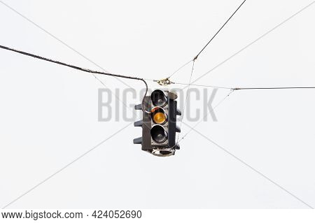 Amber Traffic Light.  A Snow Covered Suspended Amber Traffic Light Is Pictured In Mid Winter In Salz