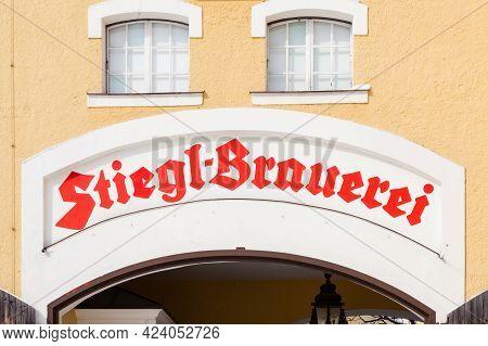Salzburg, Austria - February 27: The Entrance To Stiegl Brewery In Salzburg, Austria On February 27,