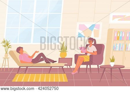 Psychology Flat Background With Relaxed Man On Sofa Having Individual Session With Smiling Female Ps