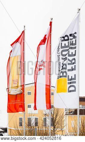 Salzburg, Austria - February 27: Flags Welcome Visitors To Stiegl Brewery In Salzburg, Austria On Fe