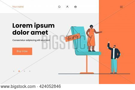 People Holding, Applying For One Position. Flat Vector Illustration. Tiny Woman Transferring Authori