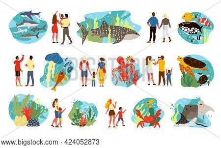 Flat Icons Set With Underwater World And Oceanarium Visitors Isolated Vector Illustration