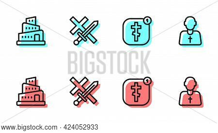Set Line Online Church Pastor Preaching, Babel Tower Bible Story, Crusade And Priest Icon. Vector